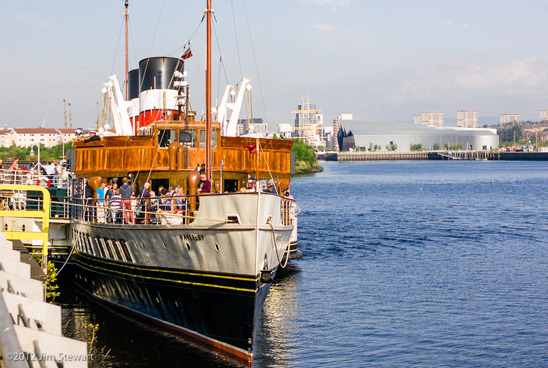 Waverley at Pacific Quay, Glasgow, with the Riverside Museum behind